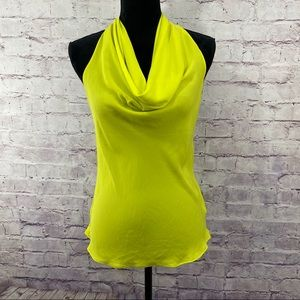 Akira yellow halter blouse with zipper acc…